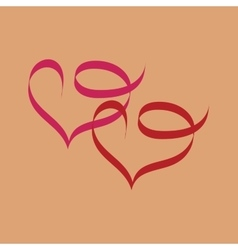 Heart two ribbon vector image vector image