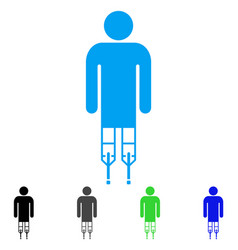 Man crutches flat icon vector