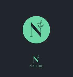 n letter monogram cosmetic organic logo vector image