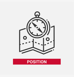 Position - line design single isolated icon vector