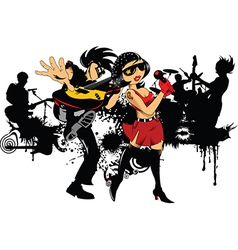 Rock band cartoon vector image vector image
