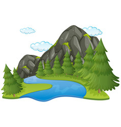 Scene with river and mountain vector