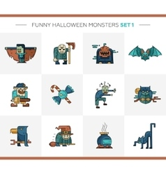 Set of halloween line flat design modern icons and vector