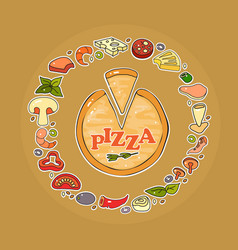 set of pizza ingredient icon vector image vector image
