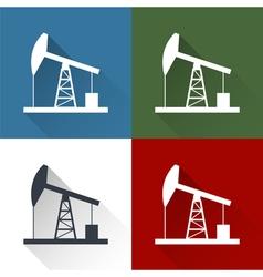Set oil derrick icon vector