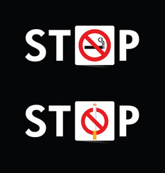 Stop smoking sign set on black background vector
