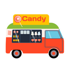 street food festival candy trailer vector image vector image