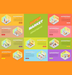 Supermarket departments banners set store shop vector