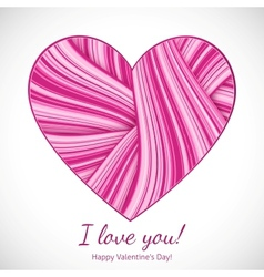 Valentines Day greeting card with wavy heart vector image