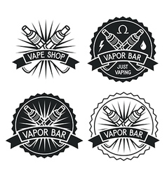Vape shop and bar emblems vector image
