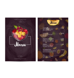 Vegan cafe food menu design vector