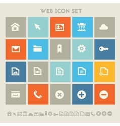 Web icon set Multicolored square flat buttons vector image