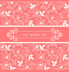 You marry me retro flower pink background i vector