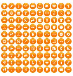 100 athlete icons set orange vector