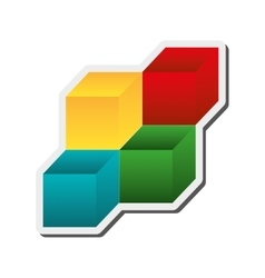 3d cubes icon vector
