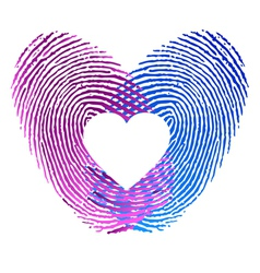Finger print of man and woman in love vector image