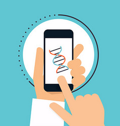 Hand holds smartphone with dna icon on smartphone vector