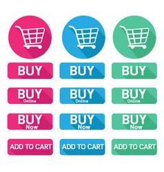 Flat design button buy online shopping cart vector