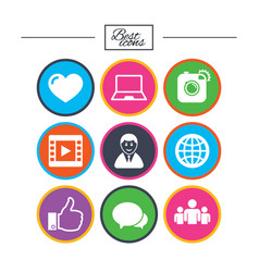 social media icons video share and chat signs vector image