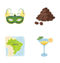 Brazil country mask carnival brazil country vector