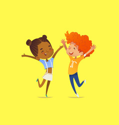 Pair of multiracial kids boy and girl happily vector