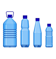 Water bottles in line from big to small vector