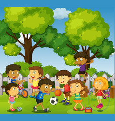 children playing games and sports in park vector image