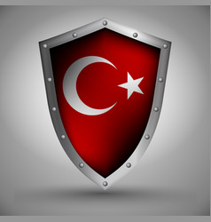 Shield with theturkish flag vector
