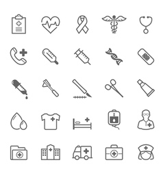 Set of outline stroke medical icon vector