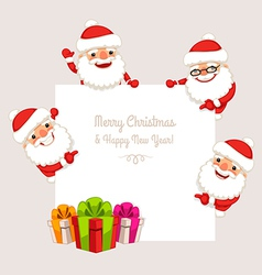 Set of cartoon santa claus behind white board vector