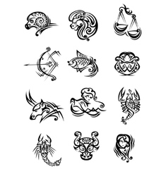 Set of black and white zodiac signs vector