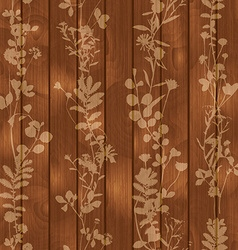 Wooden seamless background with flower elements vector
