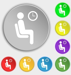 Waiting icon sign symbol on five flat buttons vector