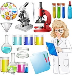 Scientist with science equipment vector