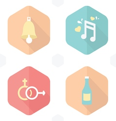 Wedding symbols bells music gender drink vector
