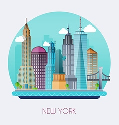 New york city skyline and landscape of buildings vector