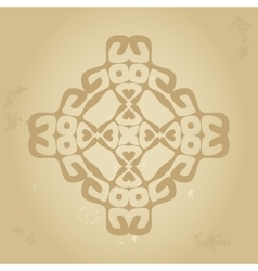 Abstract ethnic sign in sepia brown colors vector