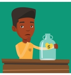 Bankrupt businessman looking at empty money box vector image