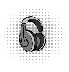 Big headphones grey comics icon vector