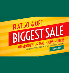 Biggest sale offers and discount banner template vector