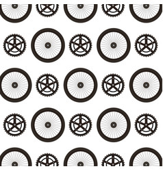 Bike wheels and sprocket pattern background vector