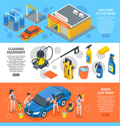 Car wash isometric banners set vector