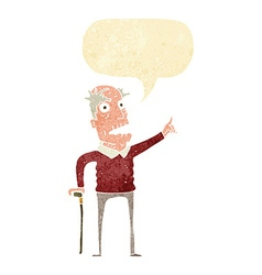 Cartoon old man with walking stick with speech vector