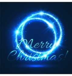 Christmas card of shining light circle with star vector