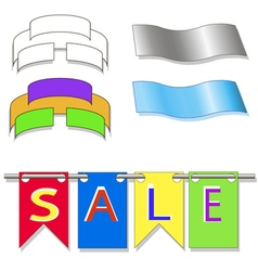Colored flags hanging form suspended sales signs vector