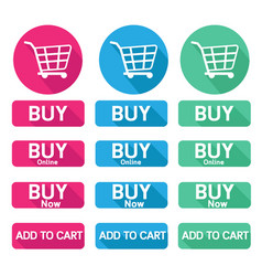 Flat design button buy online shopping cart vector