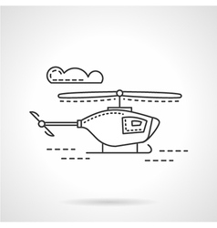 Flat line military copter icon vector image vector image