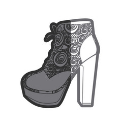 Gray thick contour of high heel shoe with vector