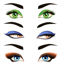 hand drawn colored woman eyes vector image vector image