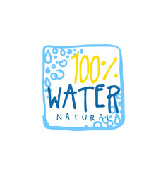 Hand drawn signs of pure water square logo with vector